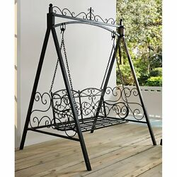Black Metal 2 Person Patio Swing Stand Set Home Living Outdoor Furniture Porch