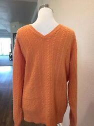 LORO PIANA EUC Orange Cable Knit Cashmere Men's Casual V-Neck Sweater Size 56
