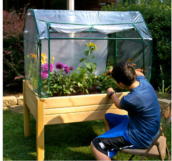 Mini Small Greenhouse Effect Kit Raised Garden Bed Box Portable For Vegetables