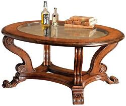COFFEE TABLE DAVID MICHAEL RUSTIC SOLID WALNUT TEMPERED GLASS BEVELED NEW