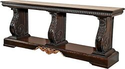 CONSOLE DAVID MICHAEL RUSTIC SOLID WALNUT NEW HAND-CARVED CARVED DM-625