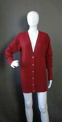 CHANEL 13P Burgund Red Long Cardigan Dress Light Cashmere Pearl Gold buttons