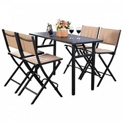 Outdoor Folding Chairs With Rect Table Backyard Patio Garden Furniture Set 5 Pcs