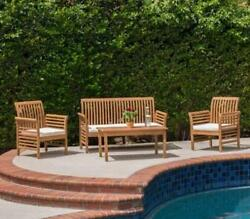 Patio Seating Set Wood Outdoor Furniture Garden Chairs Table Bench Balcony Deck