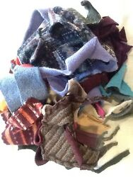 LOT 1  FELTED WOOL SWEATER SCRAP SM- Med Pieces 1 LB FOR WOOL APPLIQUE PROJECTS