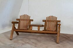 Rustic Stained White Cedar Log Adirondack Settee with Center Table- Amish Made