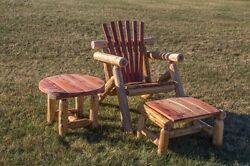 Red Cedar Log Adirondack Chair Ottoman and Side Table Set - Amish Made USA