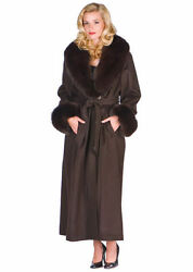 Women's Long Cashmere Coat Real Fox Fur Collar & Cuffs Full Length Jacket Brown