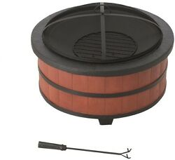 Outdoor Steel Fire Pit Durable Large Bowl Sturdy Scuff Protectors Faux Stone Rim