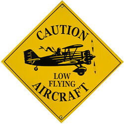 Caution Low Flying Aircraft Airplane Vintage Aviation Porcelain Metal Sign $45.00