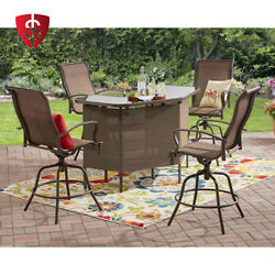 Patio Furniture Bar Set Outdoor Garden Chairs Table Heights Pool Swivel 5-Piece