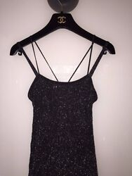 CHANEL BLACK CAMELIA SILVER SPECKLED EVENING GOWN w LONG TRAIN-SZ 38 - GORGEOUS!