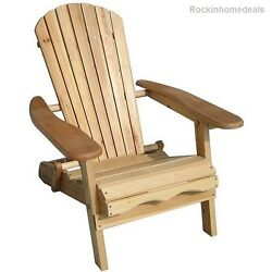 Foldable Adirondack Natural Finish Patio Chair Kit Relaxing Outdoor Porch NEW
