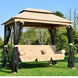 Tan Canopy Patio Converting Swing Bed Gazebo Home Outdoors Furniture Poolside