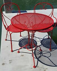Outdoor Furniture-Woodard Parisienne Wrought Iron Bistro Table & Dining Chairs