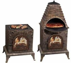 Outdoor Fire Place Garden Pizza Oven Patio Chiminea Yard Barbeque BBQ Smoker Pit
