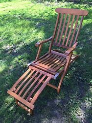 Teak Steamer Lounger Chair 1st Class Ocean Liner Cruise Ship SS New Amsterdam
