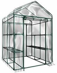 Plant Large Walk In Greenhouse With Clear Cover - 12 Shelves Stands 3 Tiers -
