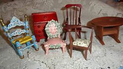 Wood doll house furniture  six piece- desk table rocker chairs hand crafted