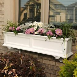 4 ft. Window Box Flower Planter Wall Railing Mount Deck Self Watering White Pot