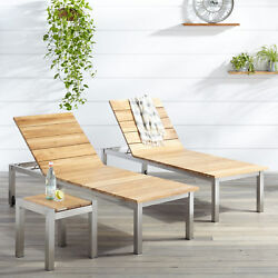 Signature Hardware Macon 3 Piece Teak Outdoor Chaise Lounge Chair Set