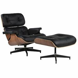 Eames Inspired Lounge  Chair and Ottoman Walnut Black Top Grain Leather NEW