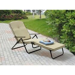 Outdoor Chaise Lounge Padded Folding Deck Chair Pool Lounger Patio Furniture