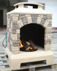 GAS FIREPLACE FIRE PIT OUTDOOR TUSCAN STYLE STONE wLogs 44
