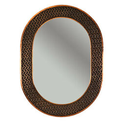 Hand Hammered Oval Copper 35-inch Mirror with Decorative Braid Design