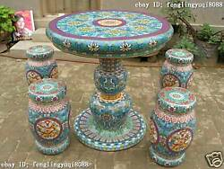 Chinese Royal Palace Copper Cloisonne Enamel dragons Stool Table Chairs Set