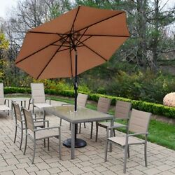 Patio 9 Pc Aluminum Padded Sling Dining Set Table Chairs+Tilt Umbrella+Stand