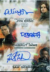 Star Wars Rogue One Series 2 Ultra Rare Triple Auto Jones & Yen & Whitaker 33