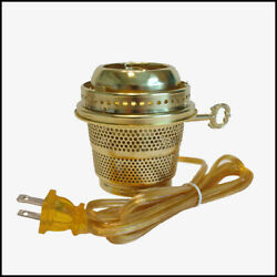 ALADDIN LAMP STYLE BRASS ELECTRIC BURNER for LOX ON CHIMNEY NEW $44.95