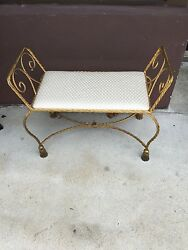 Gilded Neo-Classical Iron Bench