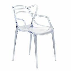 Fine Mod Imports Stackable Clear ABS Plastic Brand Dining Chair for Indoor Outdo