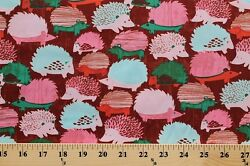 Cotton Hedgehogs Animals Pink Pets Wildlife Fabric Print by the Yard D782.19
