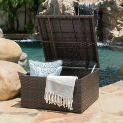 Outdoor Wicker Storage Ottoman Box Patio Deck Furniture for Blankets Cushions