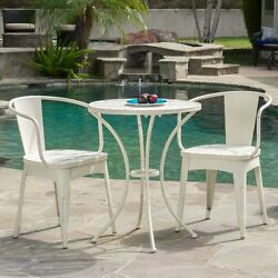 3 Piece Bistro Set Table White Cast Iron Vintage Style Outdoor Patio Furniture
