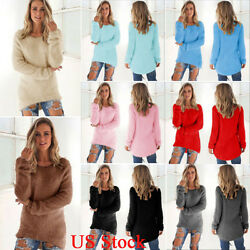 Women Ladies Casual Pullover Loose Sweater Long Sleeve Jumper Tops Tunic Coat US $16.43