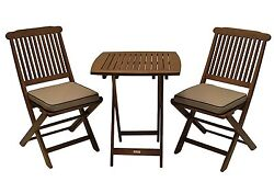 Outdoor Hardwood Easy To Fold 2 Chairs With Table Patio Garden Pool Cafe Bistro