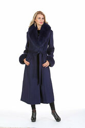 Womens Plus Size Long Cashmere Coat Real Fox Fur Collar and Cuffs - Navy
