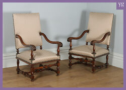 Antique Pair of Two French Walnut Fauteuil Upholstered Hall Armchairs Circa 1870