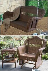 Brown 3 Piece Resin Wicker Outdoor Patio Glider Swing Table Set Furniture Pool