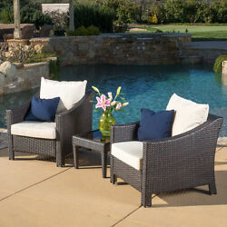 Outdoor Home 3-piece Wicker Bistro Set with CushionsPatio And Garden Furniture