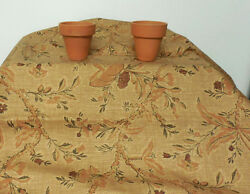 Terracotta Brown Floral Cotton Screen Print Drapery Waverly Fabric By The Yard $12.95