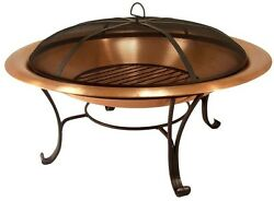 Copper Fire Pit Outdoor Wood Burning Bowl Firepit Spark Screen Log Grate Cover