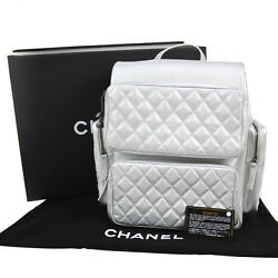 Auth CHANEL Quilted CC Logos Chain Backpack Hand Bag Silver Leather SHW M12396