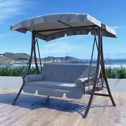Gray Cushion Canopy Patio Swing Bed Home Outdoor Leisure Furniture Garden Deck