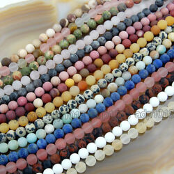 Wholesale Natural Matte Gemstone Round Spacer Loose Beads 4mm 6mm 8mm 10mm 12mm $3.99
