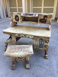 Dr. Harley Niblack Western Theme Desk And Bench Seat - Personal Desk From Studio